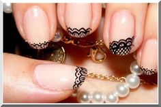 embroidery french tips    nail art nail design manicure