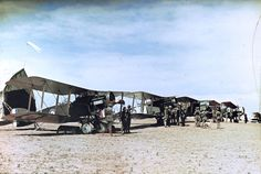 Photographer: Frank Hurley Year: 1918 Location: Mejdel, Palestine Description: Lieutenant General Sir Harry Chauvel conducts an inspection of the men and Bristol F.2B fighter planes of the No.1 Squadron, Australian Flying Corps, at Mejdel around...
