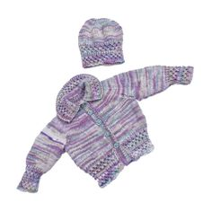 Hand knitted baby smocked cardigan and hat 0 - 6 months - baby clothes matinee £12.00