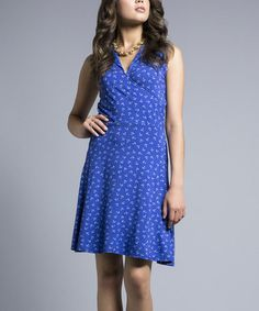Another great find on #zulily! Blue & White Anchors Faux Wrap V-Neck Dress #zulilyfinds