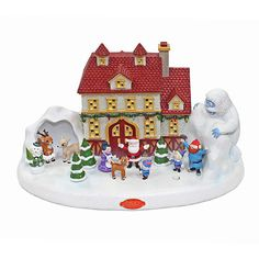 Rudolph the Red Nose Reindeer 50th Anniversary Illuminated & Musical Village - With LED Light and Plays Songs, 15.5 in.
