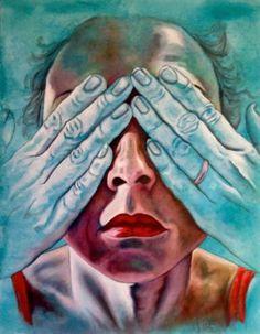 "Saatchi Art Artist Monica Spicciani; Painting, ""Non vedo - I don't see"" #art"