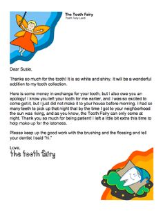 Oops.  Tooth Fairy forgot to collect the tooth the other might.  Found this letter and it worked like a charm!