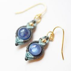 [大點事兒]花邊耳環/藍晶石(8毫米) - FUKANE〜天然石材手工配件