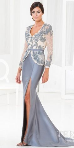 Terani Couture Raw Lace Scallop Evening Dress