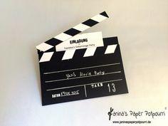jpp - Einladungskarte Filmklappe / movie themed party invitation / hollywood / Stampin' Up! Berlin www.janinaspaperpotpourri.de