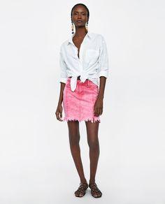 Image 1 of Z1975 RIPPED MINI SKIRT from Zara Street Style Summer, Black Models, Zara Women, Lace Skirt, Mini Skirts, Denim, Pink, Italy Trip, Clothes
