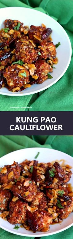 Spicy Crispy Kung Pao Cauliflower. Cauliflower battered and baked and tossed in spicy kung pao sauce.   VeganRicha.com vegan appetizer snack cauliflower kungpao recipe
