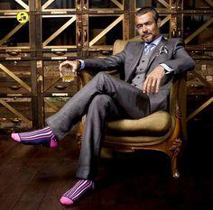 men s suits sale Funky Socks, Colorful Socks, Patterned Socks, Striped Socks, Well Dressed Men Over 50, Socks World, Over The Calf Socks, Herren Style, Man About Town