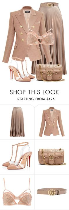 """Untitled #2020"" by styledbyjovonxo ❤ liked on Polyvore featuring A.L.C., Balmain, Christian Louboutin and Gucci"