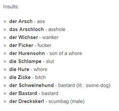 Study German, Learn German, Learn French, German Language Learning, Language Study, Dual Language, German Grammar, German Words, Insulting Words