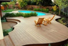 Swimming pool landscaping should add more values and creates a better view. Pool landscaping is an important element in creating a beautiful place. Inground Pool Designs, Small Inground Pool, Swimming Pool Landscaping, Small Swimming Pools, Swimming Pool Designs, Lap Pools, Indoor Pools, Small Backyard Decks, Pools For Small Yards