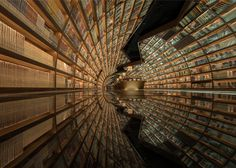 Tunnel of Books: Shelves Wrap Curved Bookstore Walls & Ceiling