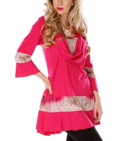 Another great find on #zulily! Lily Pink & Beige Cowl Neck Tunic by Lily #zulilyfinds