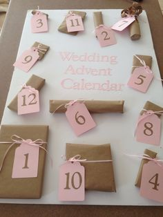 Wedding advent calendar. Cute little presents for the 12 days before the wedding.
