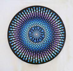 Lazy Susan Hand Painted Mandala, Diameter, Dots, Purple, Blue by LisaFrick on Etsy Dot Art Painting, Mandala Painting, Pebble Painting, Mandala Art, Stone Painting, Mandala Pattern, Mandala Design, Aboriginal Dot Art, Painted Rocks