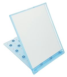 Polka Dot Flower Compact Folding Stand Mirror | Incredibly Cute & Portable | Perfect Make-Up Mirror, especially for Teen Girls | Available in Four Colors (Blue with blue flowers). Can Be Folded Back as a Stand Mirror. Compact, Foldable, and Portable. Pretty Polka Dot Flower Design. Available in four colors: Blue, Pink, White with blue flowers, & White with green flowers (limited availability).