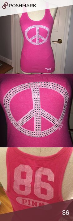 Victoria's Secret PINK peace sign tank top M Medium bright pink tank top with gemstone embellishment (missing 2 in peace sign). PINK Victoria's Secret Tops Tank Tops
