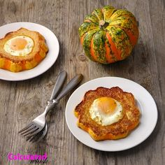 Baked Eggs in Squash Rings - carnival/acorn squash, olive oil, eggs, salt & pepper, fresh herbs/cheese (optional, for serving)