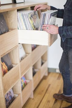 Detailed shot of the Killscrow Record Cabinet. Make it custom… Record Shelf, Record Cabinet, Vinyl Record Storage, Lp Storage, Storage Ideas, Record Stand, Vinyl Shelf, Storage Room, Vinyl Record Display