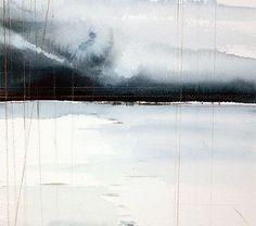 Winterlandscape - Painting,  25x35 cm ©2010 by Jonas Pettersson -            Watercolor, Breaking through
