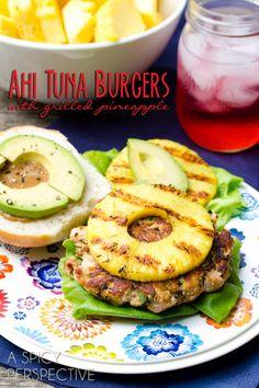 Hawaiian Ahi Tuna Burgers with Grilled Pineapple | ASpicyPerspective.com #summer #hawaii #burgers #recipe