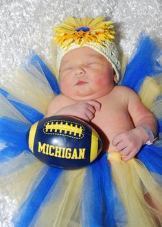 This tutu is perfect for little Wolverines.