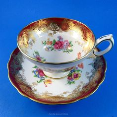DEEP Red and Gold with Floral Design Hammersley Tea Cup and Saucer Set - CAD $75.00. Deep Red and Gold with Floral Design Hammersley Tea Cup and Saucer Set This elegant cup and saucer set will complement a tea service, enrich a table setting and possibly even add a little extra richness and flavour to your next cup of tea! This striking set features elegant accents, rich, artful design and refined styling. The detailing and visual appeal will delight collectors and bring a smile to those who…