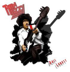 Caricatura de Phil Lynott #thinlizzy #lynott