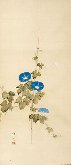 Morning Glories and Butterflies. Scroll. Attributed to Sakai Hoitsu. Japan. Nineteenth century. Harvard Art Museums