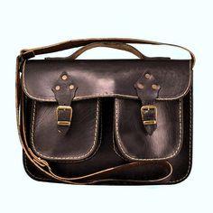 Handmade Black Leather Messenger Bag ipad Bag for men by ammaciyo