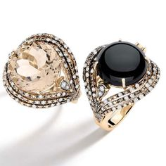 Black and smoky quartz rings by Brumani