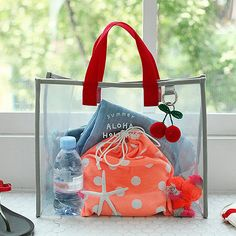 Women Waterproof Transparent Carrying Beach Bag PVC Wash Case Portable Handing Pocket Travel Storage Pouch – Purses And Handbags Diy Travel Handbags, Small Handbags, Purses And Handbags, Travel Bags, Clear Beach Bag, Bag In Bag, Pouch Bag, Transparent Bag, Diy Handbag