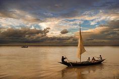 """A Journey by Boat"", photo by M.J. Hasan on the Padma River, Kushtia, Bangladesh"