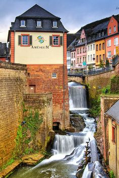 Saarburg, Germany (by Wolfgang Staudt)  This should be a sister city to Greenville SC (USA) which also has a waterfall right in the heart of downtown