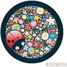 "Capa de estepe - Comix Acessórios - EcoSport/CrossFox/AirCross 2010 até 2015/Spin - ""Joaninha"" - cada (unidade) - CC500 - Capa de estepe - Acessórios - Jocar"