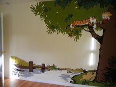 Calvin and Hobbes mural in nursery #1