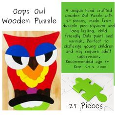 Delivery country wide in SA for only Acorn Kids, Pine Plywood, Wooden Owl, Problem Solving Skills, Wooden Puzzles, Fine Motor Skills, Life Skills, Educational Toys, Delivery