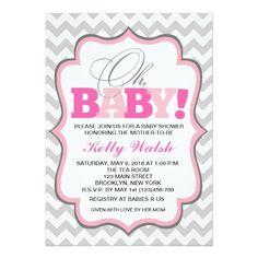 Oh Baby Girl Baby Shower Invitations Chevron Custom Announcements