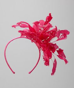 Hot Pink Feather Headband by Giovannio