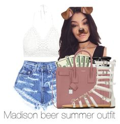 """""""Madison beer summer outfit"""" by diamondfoster919 ❤ liked on Polyvore featuring Levi's, Bellissima and Yves Saint Laurent"""