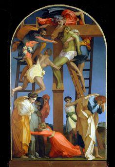 Rosso Fiorentino ~ Kruisafneming ~ 1521 ~ Olieverf op hout ~ 335 x 198 cm. Religious Paintings, Cross Paintings, Italian Painters, Italian Artist, La Passion Du Christ, Renaissance Kunst, Crucifixion Of Jesus, Jesus Christ, Peter Paul Rubens