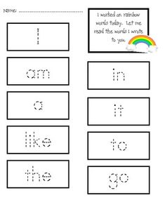 Rainbow Sight Word Lesson and Center Activities - This is an activity I use to introduce and review sight words. There are over 40 sight words represented along with 5 literacy center sheets. The students will pick four colors and trace the letters of the word on the card they are given. Then they read the completed word. To save paper you can always laminate the cards and put them in the center as well. Then the students could use write-on markers and erase.
