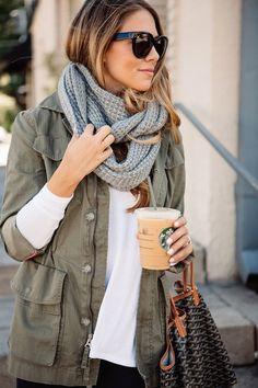green utility jacket - grey scarf | teacher diva