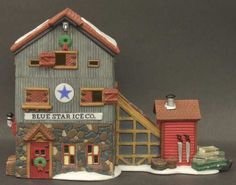 Blue Star Ice Company New England Village Lemax Christmas Village, Christmas Villages, Nautical Home, Department 56, Xmas, Christmas Ideas, Colorful Pictures, New England, Miniatures