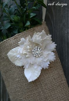beautiful accessory on burlap Christmas stocking