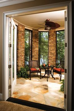Deck from the Cedar Court Plan 5004 http://www.dongardner.com/plan_details.aspx?pid=2721 -  A towering entryway makes a grand impression on the front façade, but the rear elevation - with its turret and covered porches - is just as magnificent. #Porch #Deck #Patio