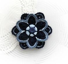 HAND CROCHET FLOWER BROOCH APPLIQUE NAVY FLOWER   eBay