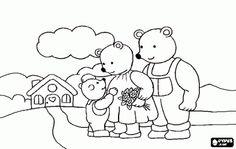 De familie van de drie beren komt terug thuis na hun wandeling in het bos kleurplaat