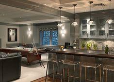 Contemporary basement in shades of gray. #basement #designs homechanneltv.com